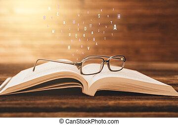 table, résumé, lettres, ouvert, lunettes, bois, vendange, arrière-plan., livre