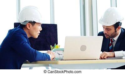 table réunion, architecte, bureau, ingénieur