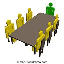 table, réunion, autour de