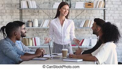 table réunion, constitué, femme, patron, équipe,...