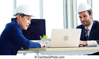table réunion, ingénieur, bureau, architecte