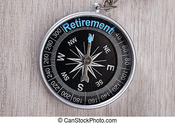 table, retraite, mot, indiquer, compas
