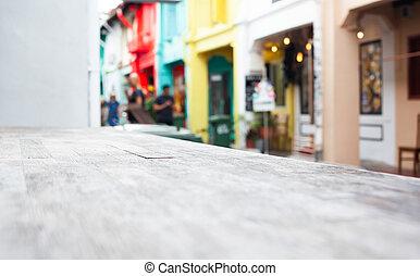 table, rue, fond, bois, brouillé, scène