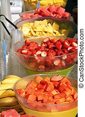 table, salade fruits
