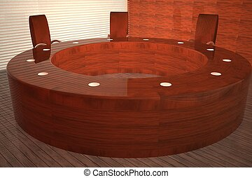 table, salle réunion, rond