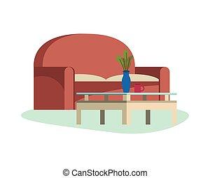 table, scène, sofa, forniture, livingroom