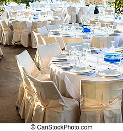 Table set at wedding reception - Table setting for an event...