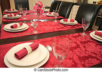 Table set for a dinner.