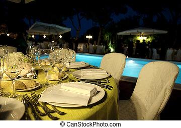 wedding dinner - Table set for a wedding dinner