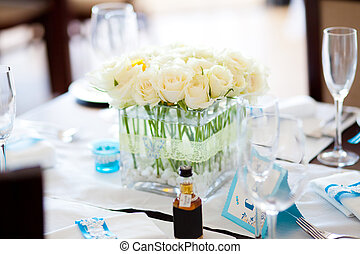 table set for a wedding