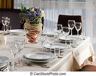 Table set for event party or wedding reception - Elaborate ...