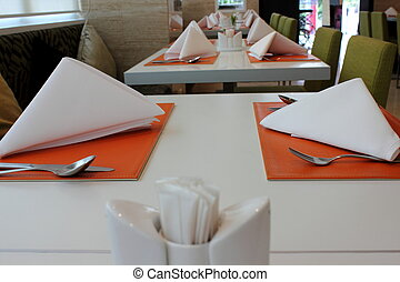 Table set for meal. Kitchen interior
