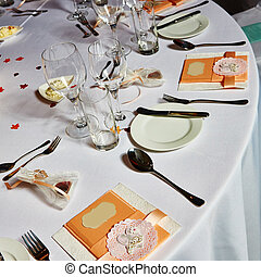 Table set for wedding