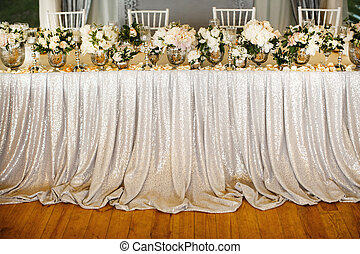 Table set for wedding with beautiful flowers
