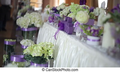 Table setting at a luxury wedding reception. decor with...