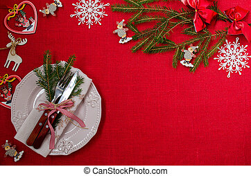 Table setting. Christmas. Place for text.