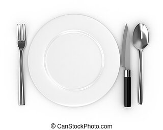 Empty plate with spoon, knife and fork