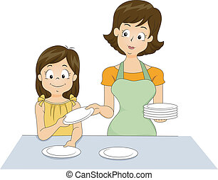 Table Setting - Illustration of a Little Girl Helping Her...