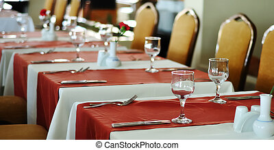 Table setting for a dinner event - This photograph represent...