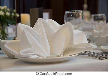 Table setting for a wedding or dinner