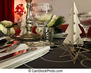 Table setting for celebration Christmas