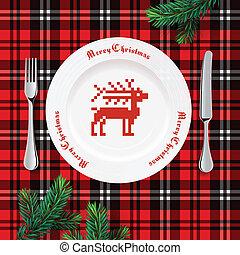 Table setting for Christmas dinner, vector Eps10 illstration.