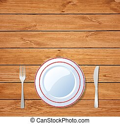Table setting for dinner on wooden table.