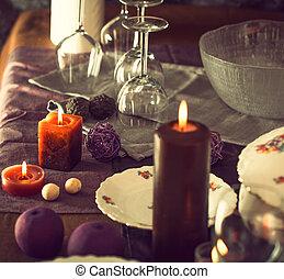 Table setting for dinner