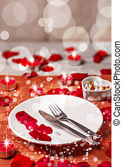 Table setting for valentines day
