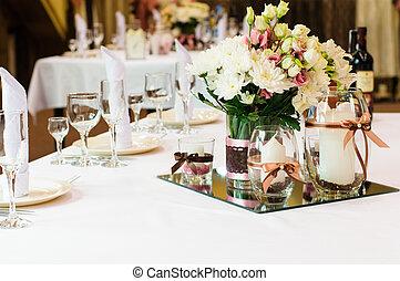 Table setting for wedding dinner