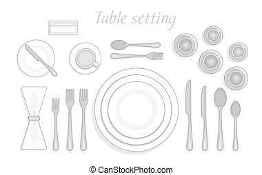 Formal table setting. The plan for the cutlery on the table. Vector illustration  sc 1 st  Can Stock Photo : tableware placement - pezcame.com