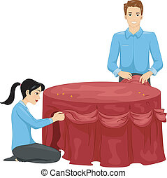 Table Setting - Illustration of a Man and a Woman Decorating...
