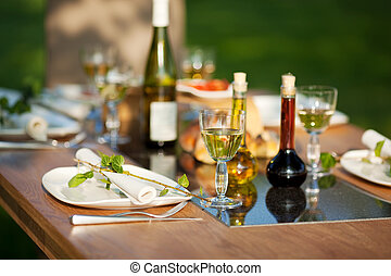 Table Setting In Lawn - View of table setting in lawn