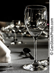 Table setting in restaurant - Black and white shot of a...