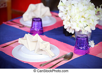 table setting in restaurant interior