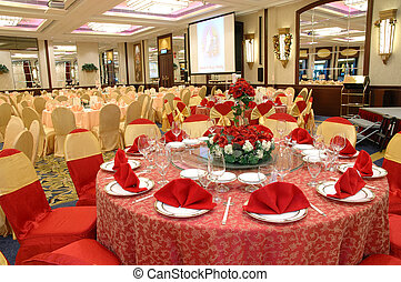 Table setting in wedding banquet - Table setting and...