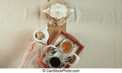 table setting, top view - table setting: arranging tea...