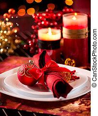 table, setting., vacances, décorations noël