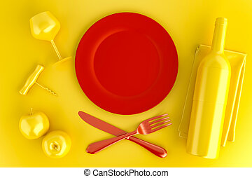 Table setting with empty red plate, glass and wine bottle. Top view. 3D illustration