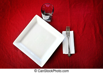 Table Setting with Fancy Plate Fork Cup and Covering Cloth