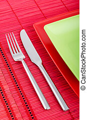 Table setting with knife and fork