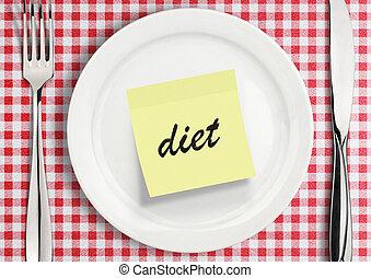 note sticker on plate, diet concept