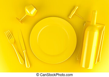 Table setting with plate, wine glass, wine bottle and corkscrew. Top view. 3D illustration