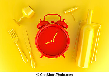 Table setting with red alarm clock, glass and wine bottle. Top view. 3D illustration