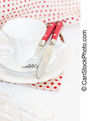 Table setting with vintage silverware