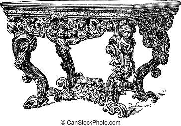 Table seventeenth century (National Furniture), vintage engraved illustration. Industrial encyclopedia E.-O. Lami - 1875.
