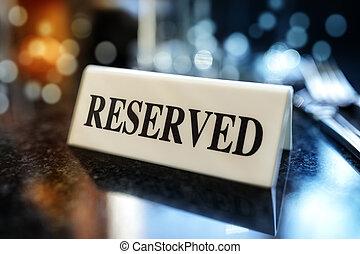 table, signe, réservé, restaurant