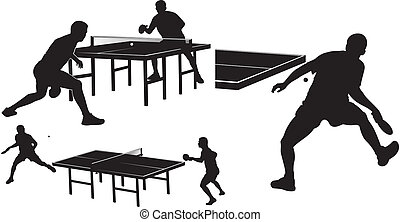 table, silhouettes, tennis, -