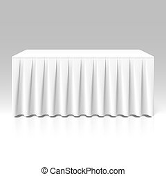 table-skirting, 白, ひだを取られた