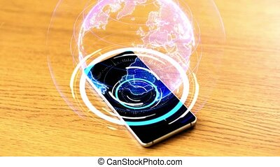 table, smartphone, projection, virtuel, la terre